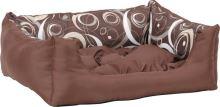 Pelech pro psa Argi obdélníkový s polštářem - hnědý se vzorem - 45 x 35 x 18 cm