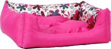 Pelech pro psa Argi obdélníkový s polštářem - růžový se vzorem - 45 x 35 x 18 cm