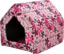 Bouda pro psy a kočky Argi - růžová se vzorem - 43 x 49 x 43 cm