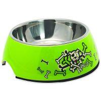 Rogz Bowlz Bubble - Miska pro psy nerezová a plastová Lime Bones, 160 ml