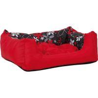 Pelech pro psa Argi obdélníkový s polštářem - červený se vzorem - 45 x 35 x 18 cm