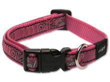 Obojek pro psa nylonový - Rogz Fancy Dress Pink Bones - 1,6 x 26 - 40 cm