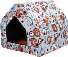 Bouda pro psy a kočky Argi - oranžová se vzorem - 43 x 49 x 43 cm