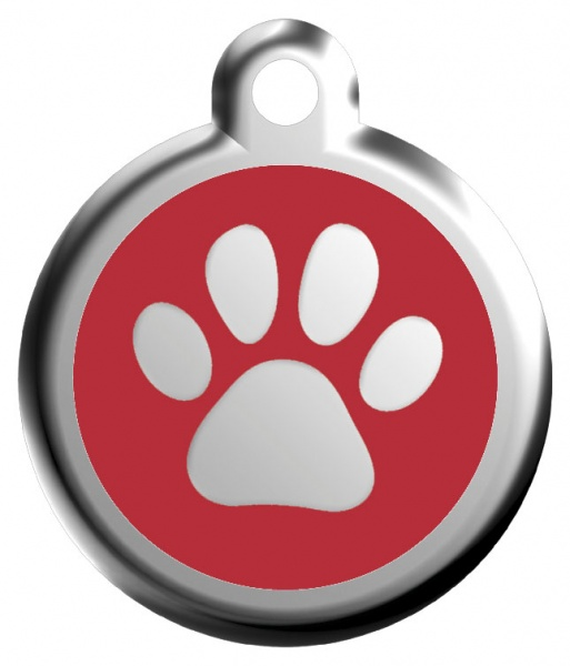 Red Dingo Známka červená tlapka - M, 30 mm