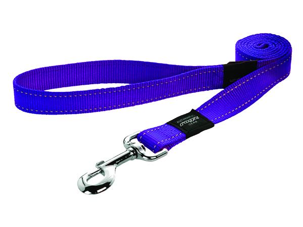 Rogz Utility Nylonové reflexní vodítko pro psy fialové - XL, 1,8 mx2,5 cm