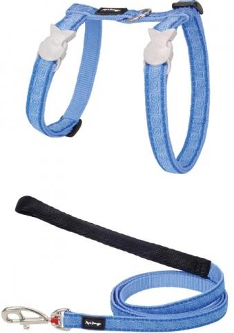 Red Dingo Nylonový postroj s vodítkem pro kočku hypno blue