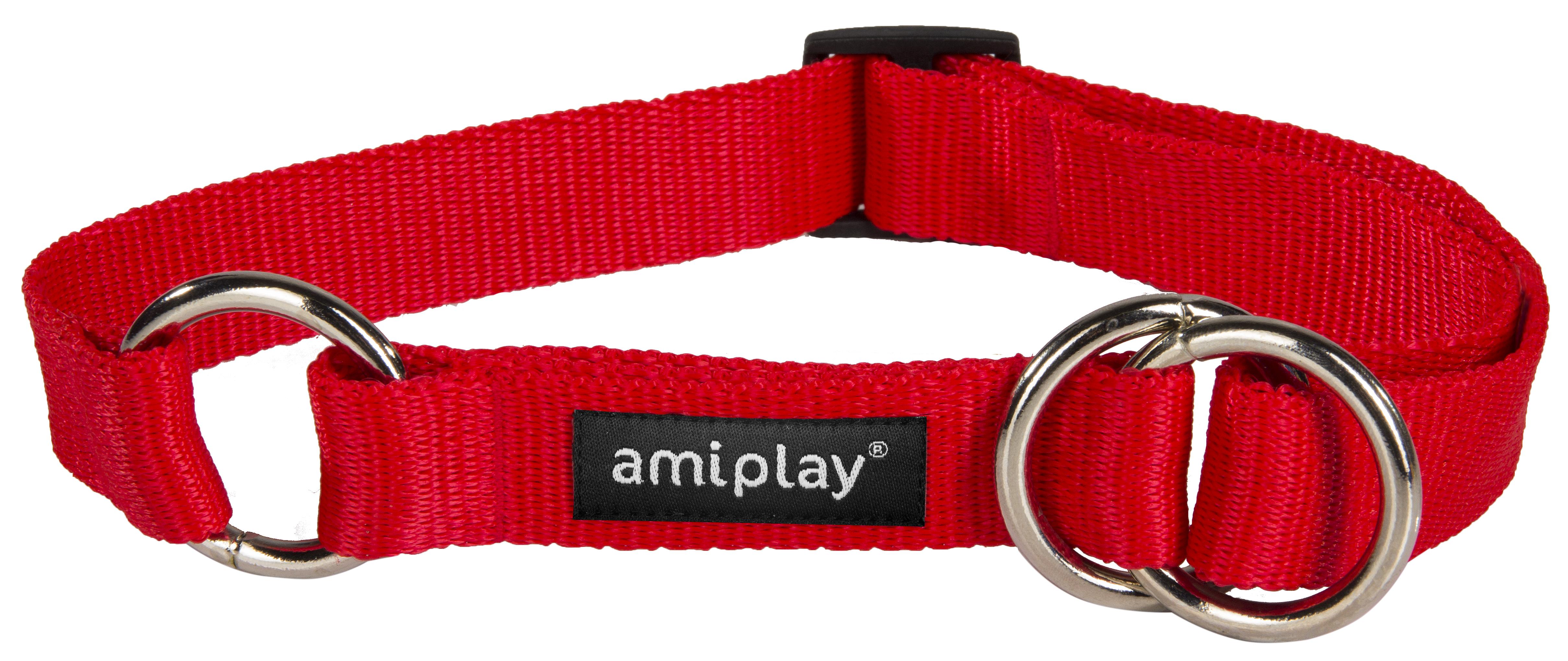 Obojek pro psa polostahovací nylonový - červený - 2 x 26 - 48 cm