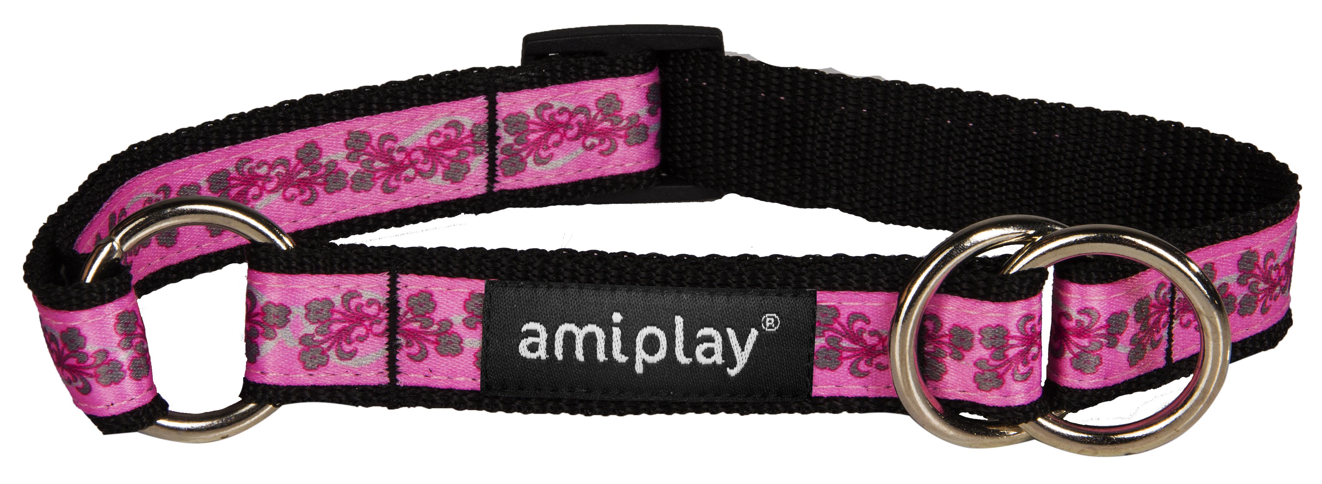 Obojek pro psa polostahovací nylonový - růžový se vzorem květina - 2,5 x 34 - 55 cm