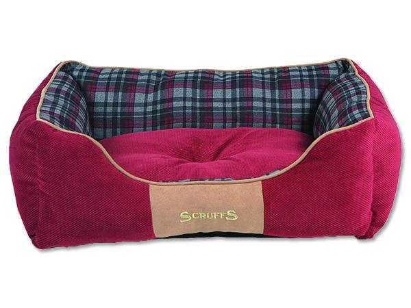 Scruffs Highland Box Bed pelíšek pro psy červený - velikost M, 60x50 cm