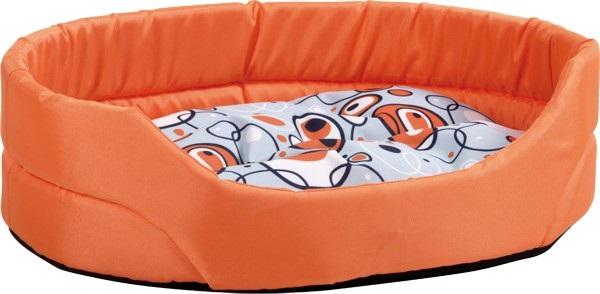 Pelech pro psa Argi oválný s polštářem - oranžový se vzorem - 40 x 30 x 12 cm