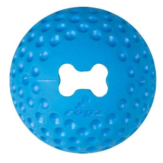 Rogz Gumz Míček plnící z tvrzené gumy pro psy modrý - M, průměr 6,4 cm