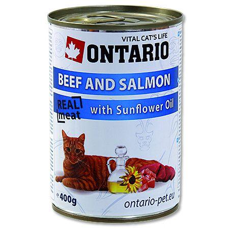 Ontario Beef, Salmon, Sunflower oil - hovězí & losos & slunečnicový olej 400 g
