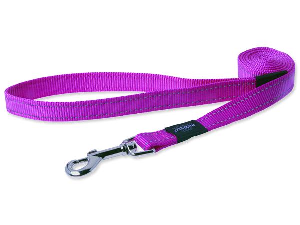 Vodítko pro psa nylonové - reflexní - růžové - Rogz Utility - 2 x 140 cm