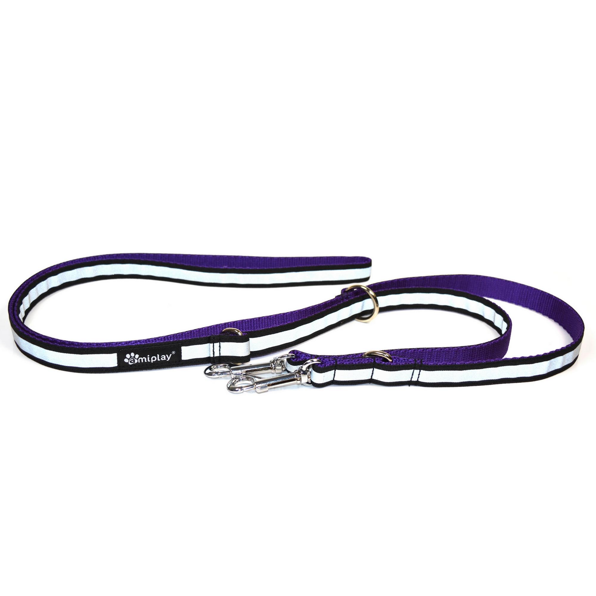 Vodítko pro psa přepínací nylonové reflexní - fialové - 2 x 100 - 200 cm