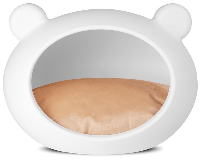 Guisapet plastový pelíšek pro psy bílý, polštář béžový - 52 x 41 x 38 cm