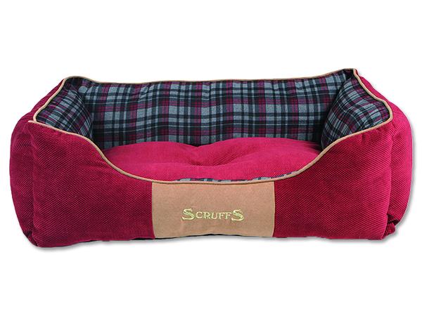 Scruffs Highland Box Bed pelíšek pro psy červený - velikost L, 75x60 cm