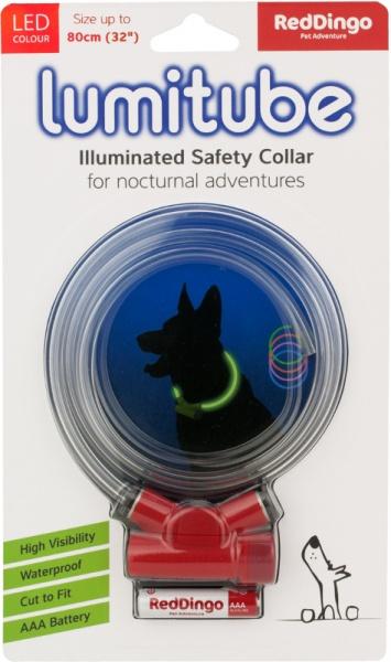 Obojek pro psa svítící - Red Dingo Lumitube led - červený - 15 - 80 cm