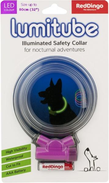 Obojek pro psa svítící - Red Dingo Lumitube led - fialový - 15 - 80 cm