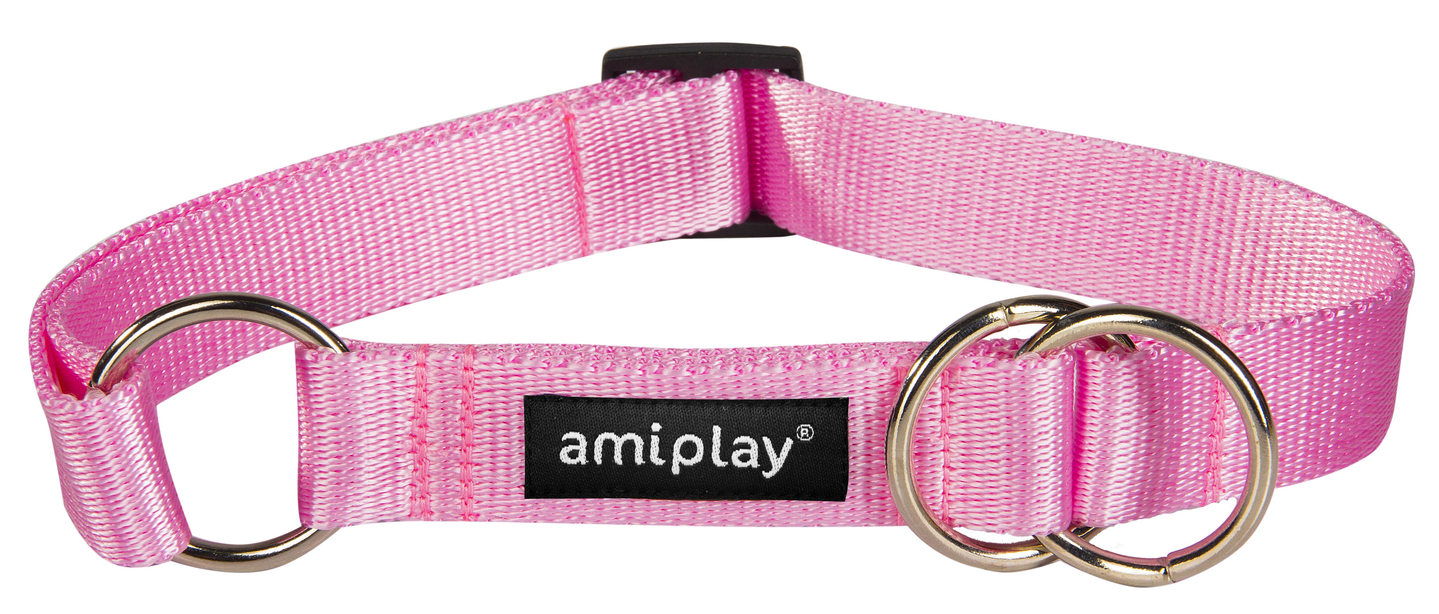 Obojek pro psa polostahovací nylonový - růžový - 2 x 26 - 48 cm