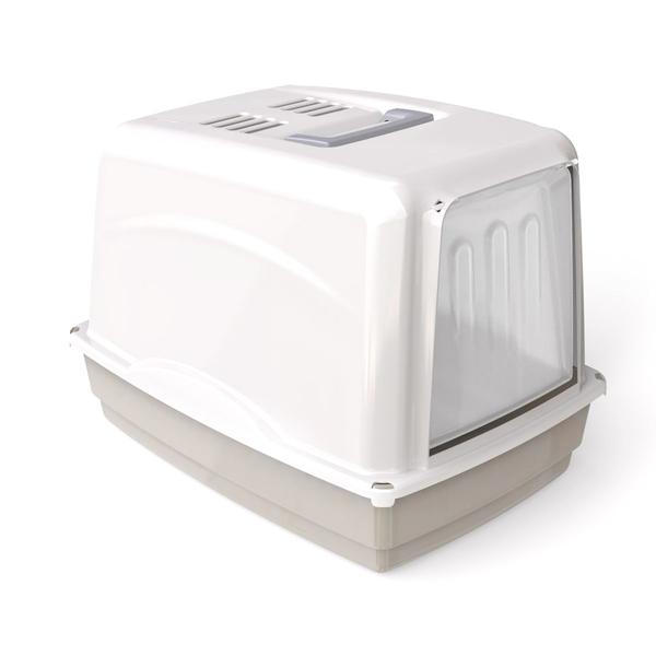 Krytá toaleta s filtrem Argi - šedá - 54 x 39 x 39 cm
