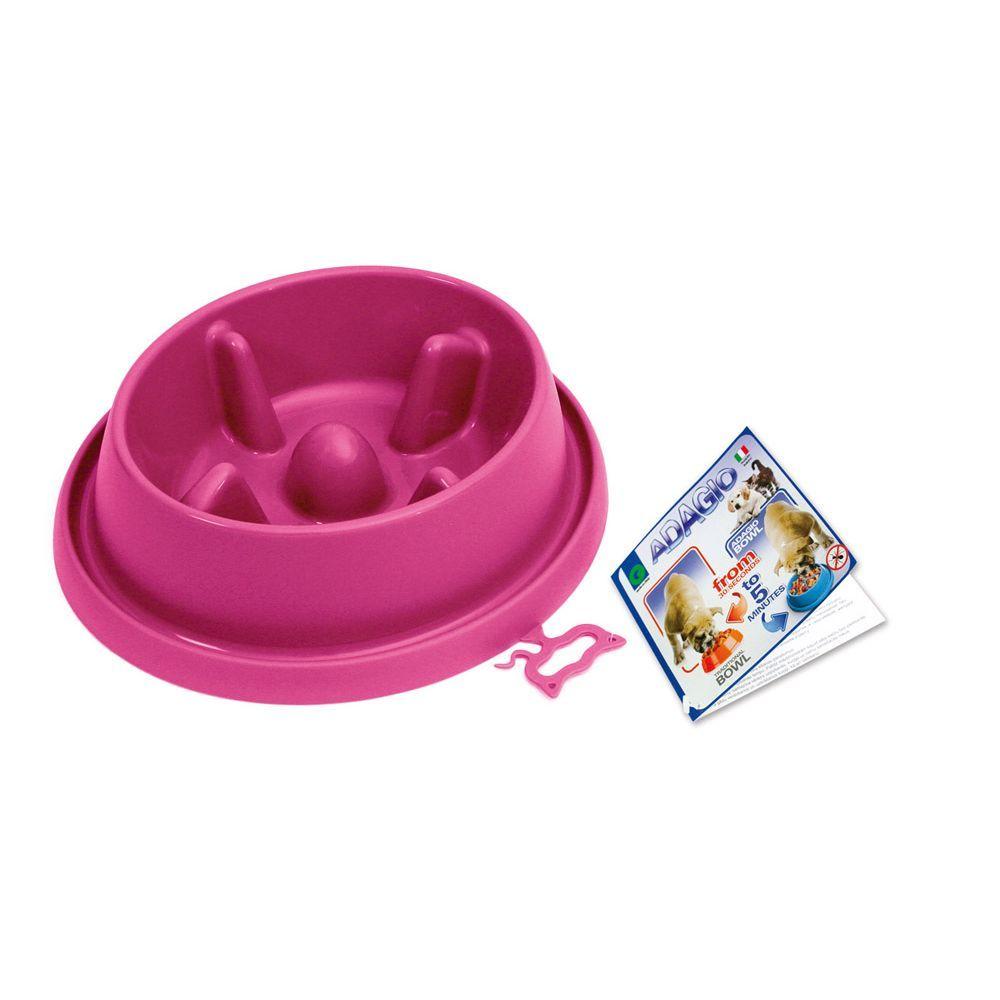 Plastová miska proti hltání s protiskluzem Argi - růžová - 25,5 x 23 x 6,5 cm