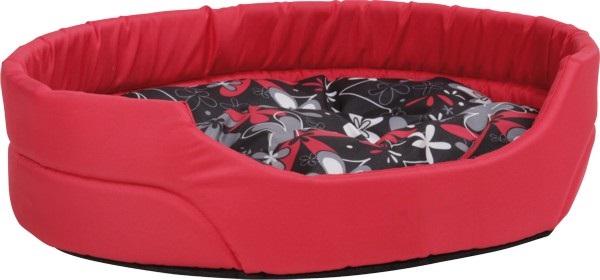 Pelech pro psa Argi oválný s polštářem - červený se vzorem - 40 x 30 x 12 cm