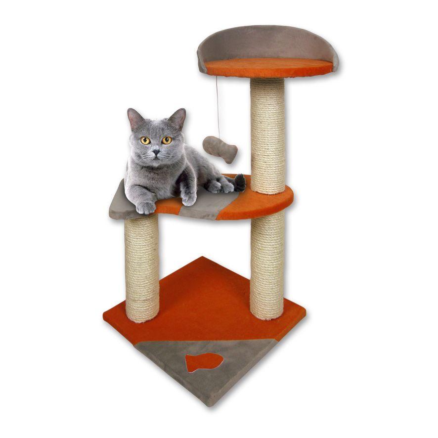 Tommi Norma Škrábadlo pro kočky šedo-oranžové, 35x35x75 cm