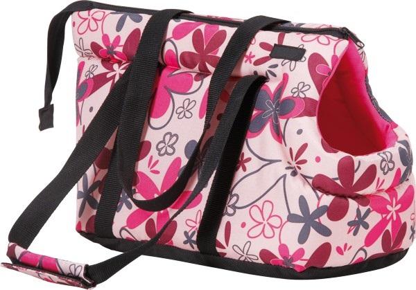 Taška pro psa Argi z polyesteru - růžová se vzorem - 35 x 21 x 24 cm