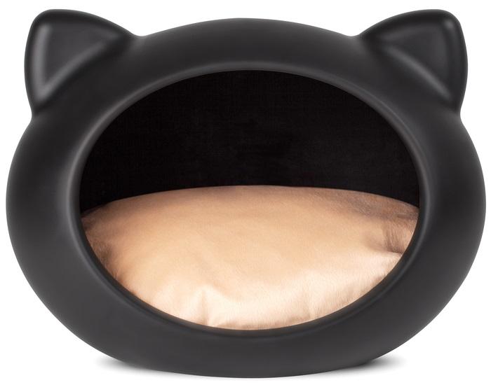 Guisapet plastový pelíšek pro kočky černý, polštář béžový - 51 x 35,3 x 44,5 cm