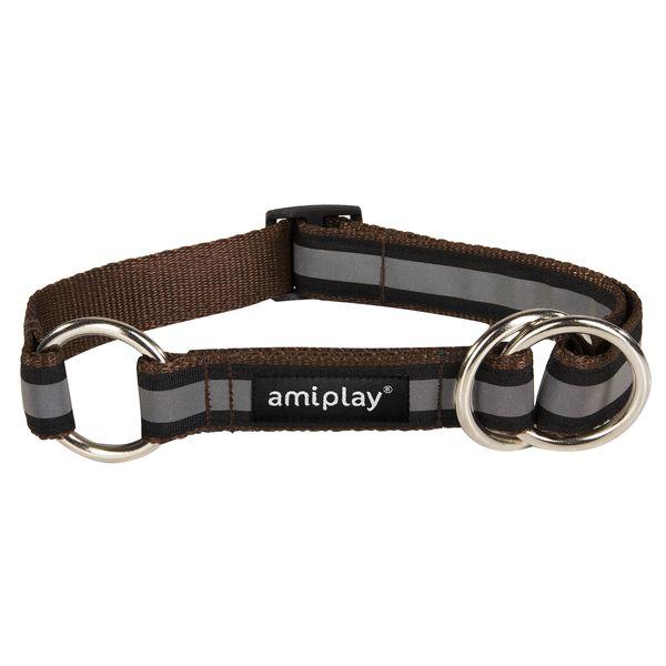 Obojek pro psa polostahovací nylonový reflexní - hnědý - 1,5 x 25 - 40 cm