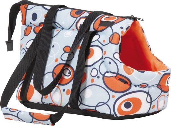 Taška pro psa Argi z polyesteru - oranžová se vzorem - 35 x 21 x 24 cm