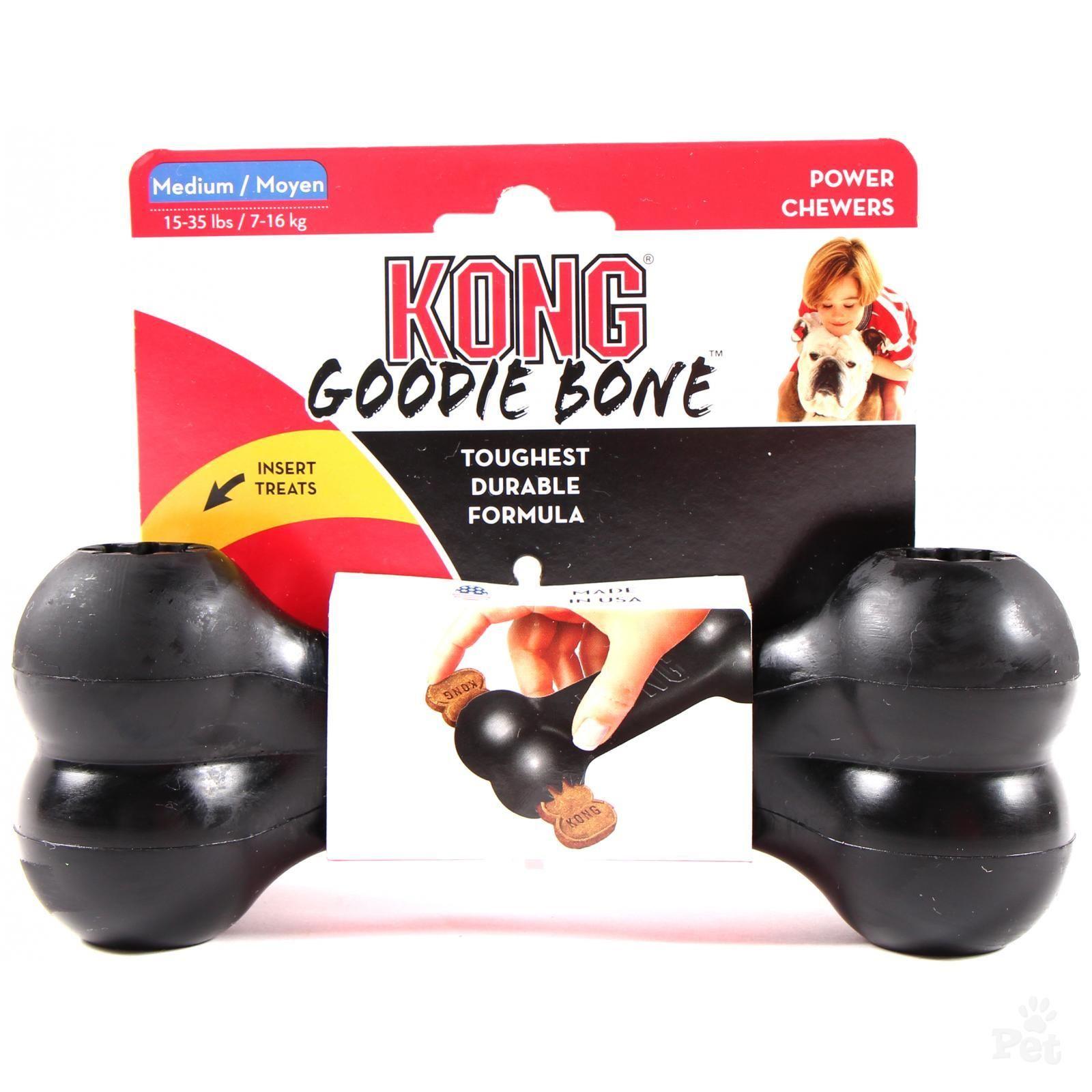 Kong Goodie Bone gumová plnitelná interaktivní kost pro psy černá - M