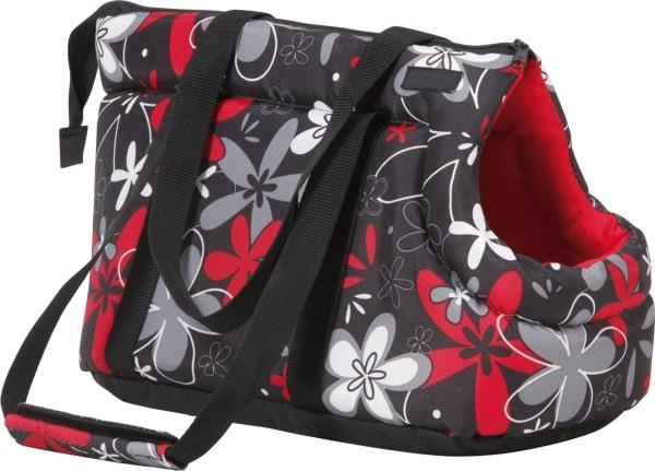 Taška pro psa Argi z polyesteru - červená se vzorem - 35 x 21 x 24 cm