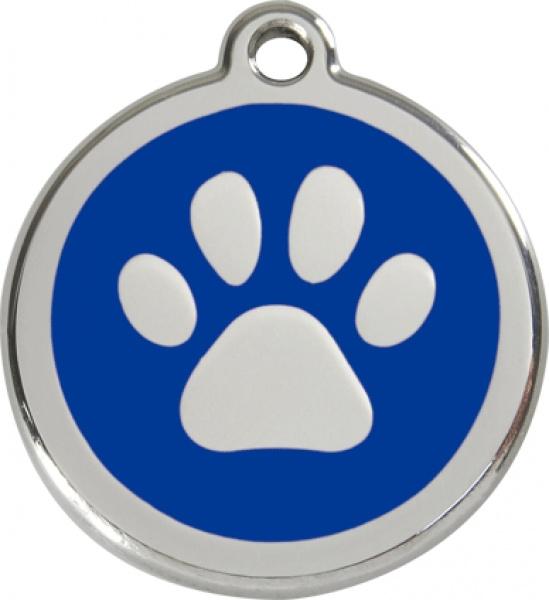 Red Dingo Známka modrá tlapka - M, 30 mm