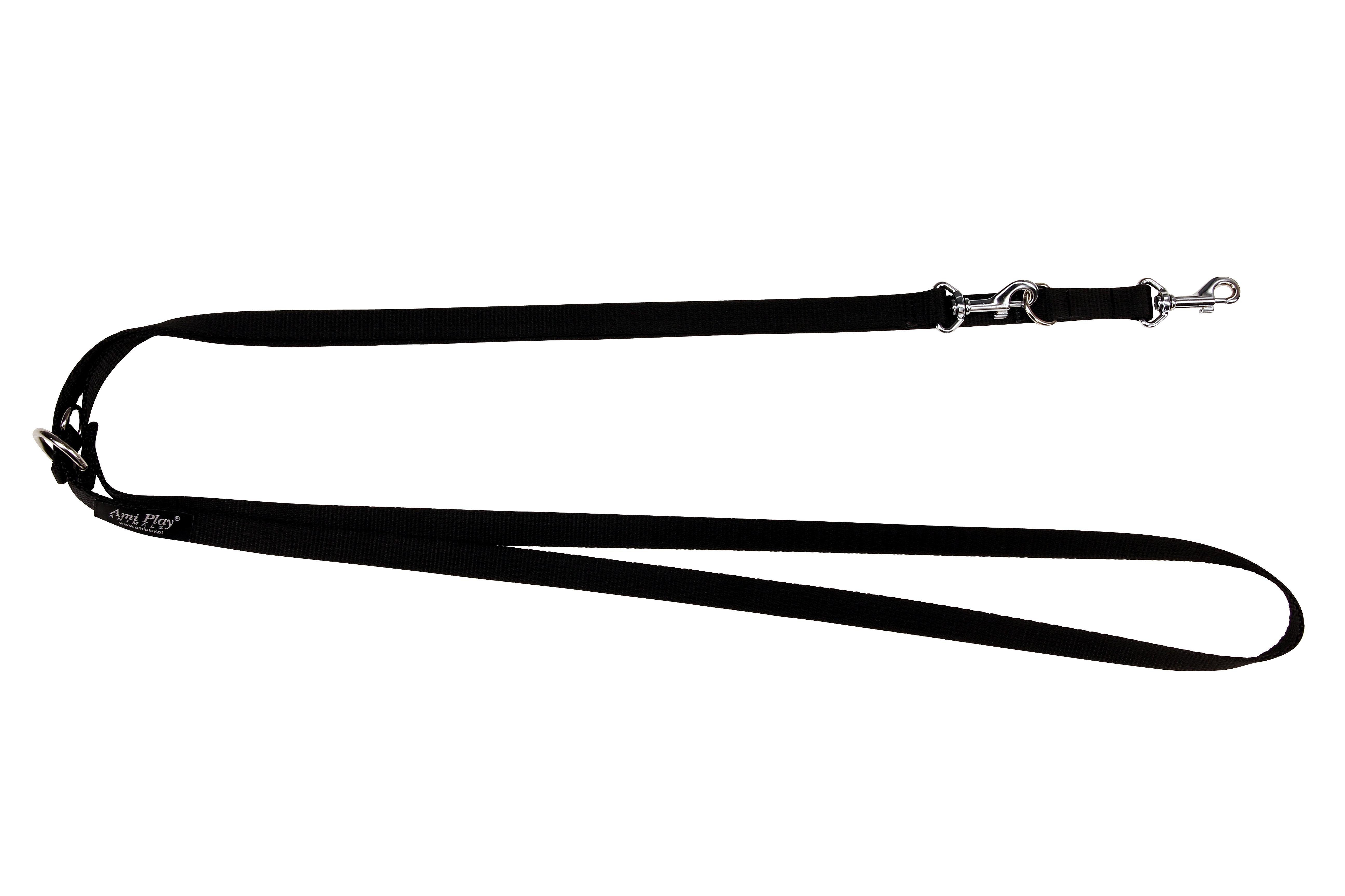 Vodítko pro psa přepínací nylonové - černé - 2,5 x 100 - 200 cm