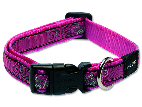 Obojek pro psa nylonový - Rogz Fancy Dress Pink Bones - 1,6 x 26 - 40 cm