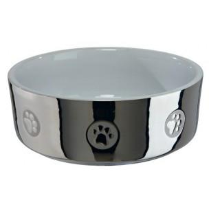 Trixie Keramická miska pro psy s packami stříbrno-bílá 300 ml 12 cm