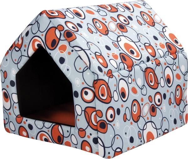Bouda pro psy a kočky Argi - oranžová se vzorem - 38 x 38 x 38 cm