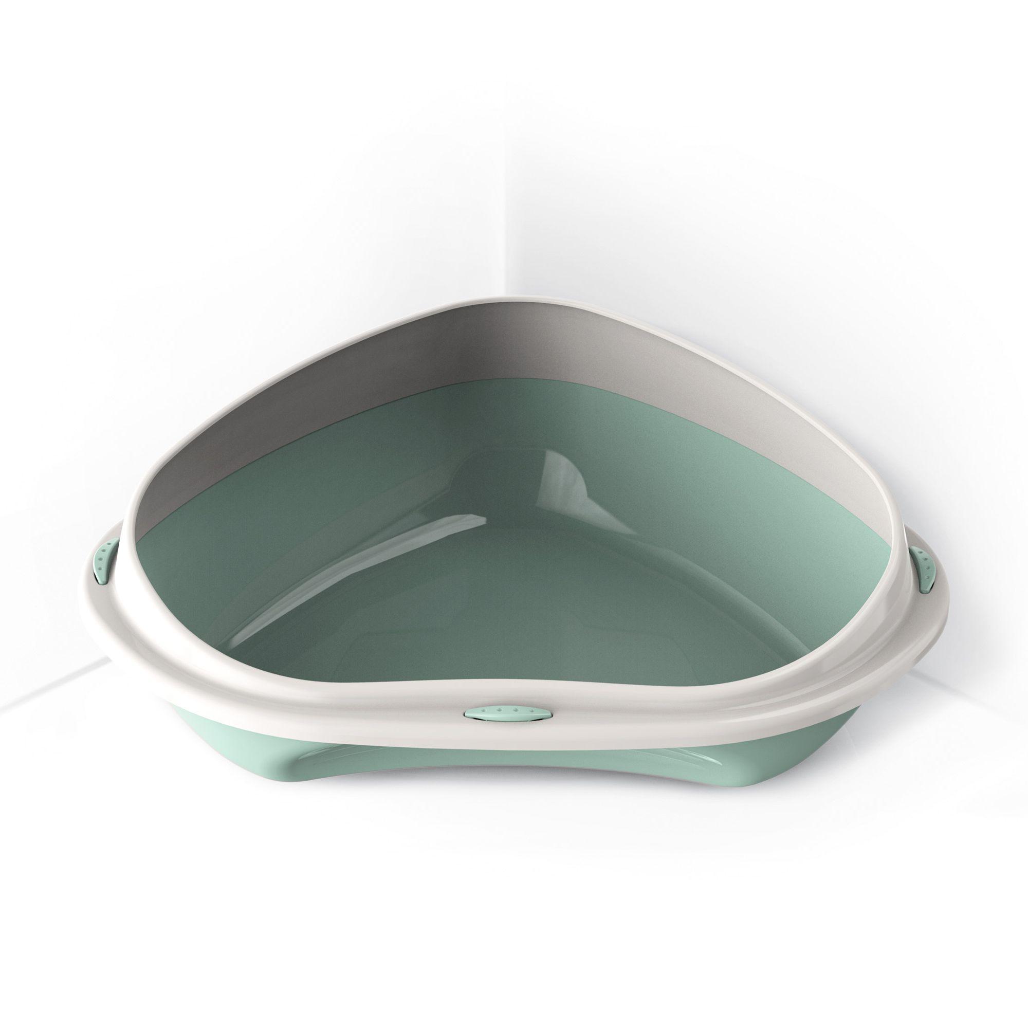 Rohová toaleta s vysokým okrajem Argi - zelená - 49 x 40 x 17,5 cm