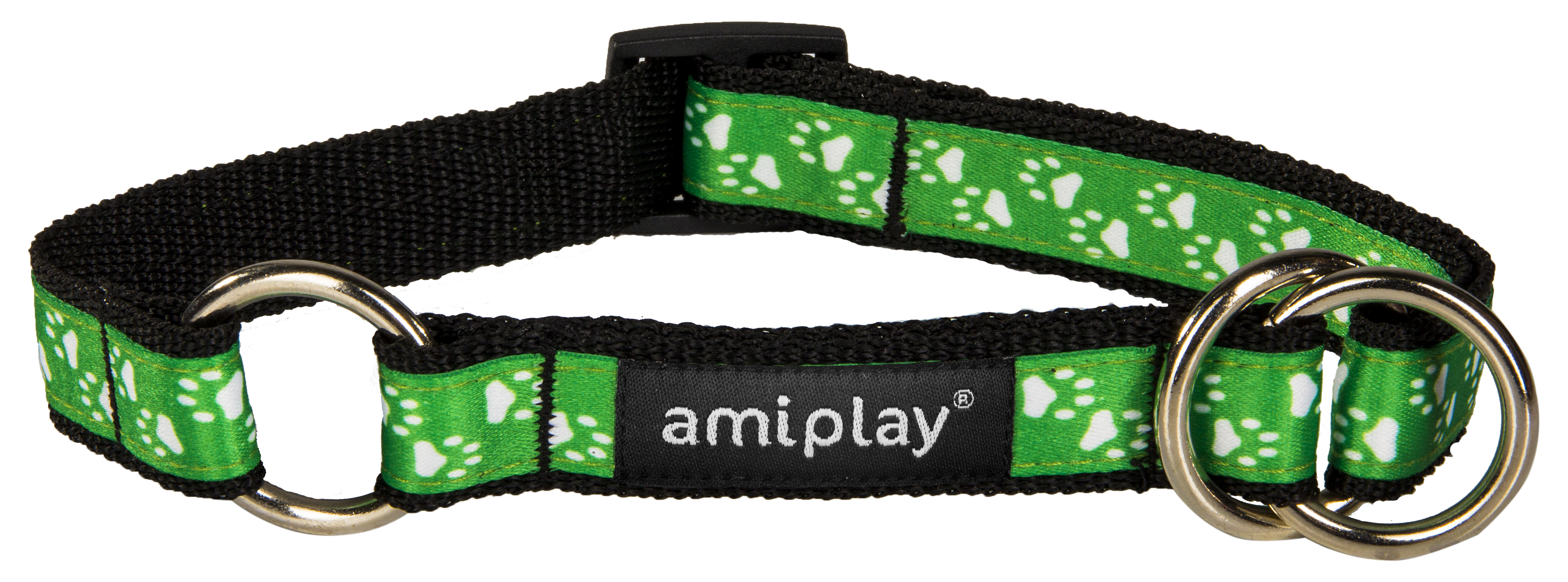 Obojek pro psa polostahovací nylonový - zelený se vzorem tlapka - 2,5 x 34 - 55 cm