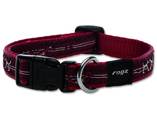 Obojek pro psa nylonový - Rogz Fancy Dress Red Heart - 1,6 x 26 - 40 cm