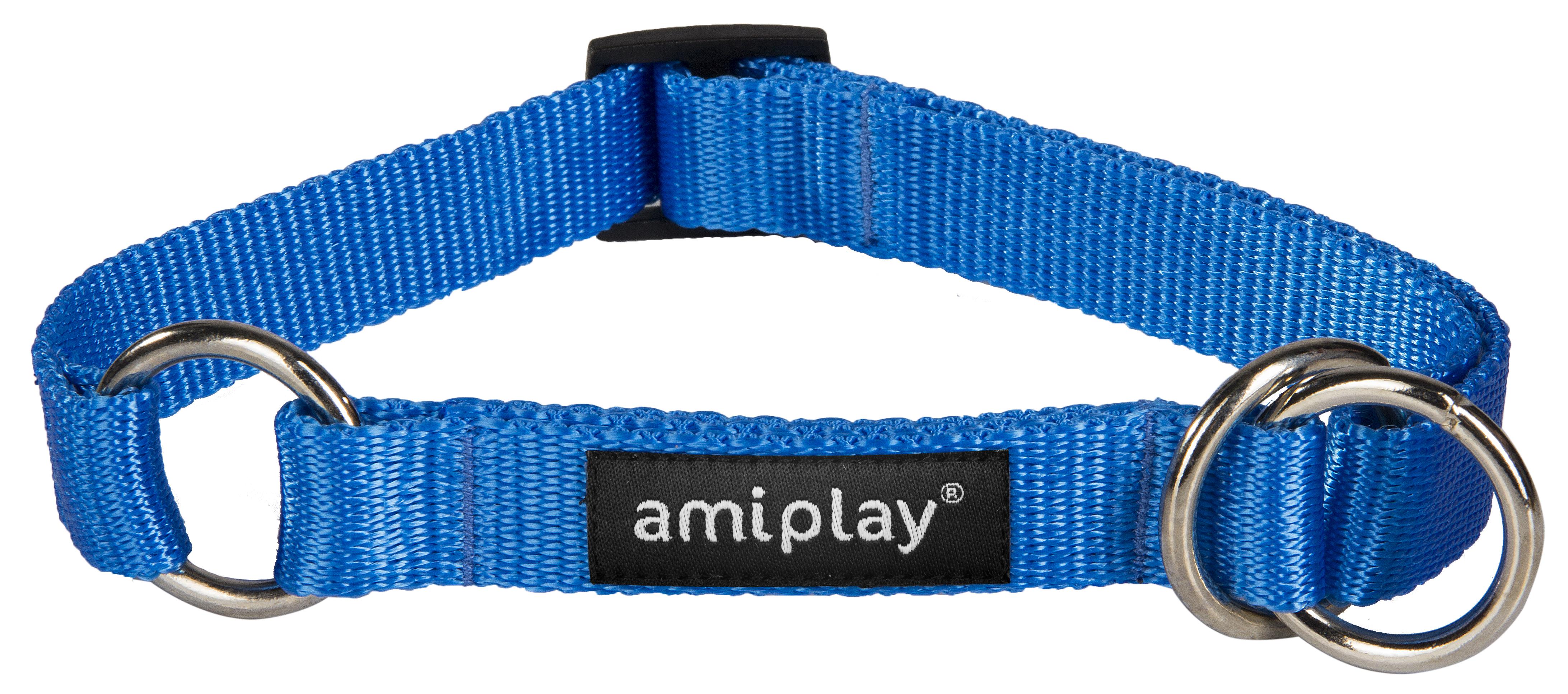 Obojek pro psa polostahovací nylonový - modrý - 2 x 35 - 50 cm