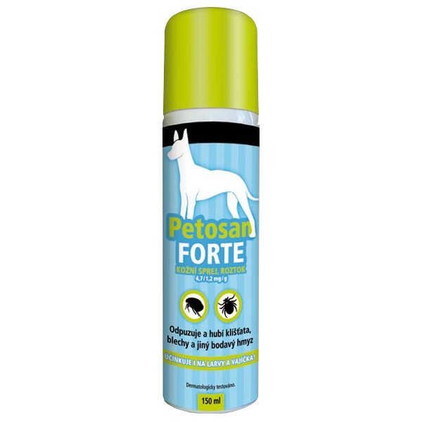 Petosan Forte Antiparazitní sprej pro zvířata 150 ml