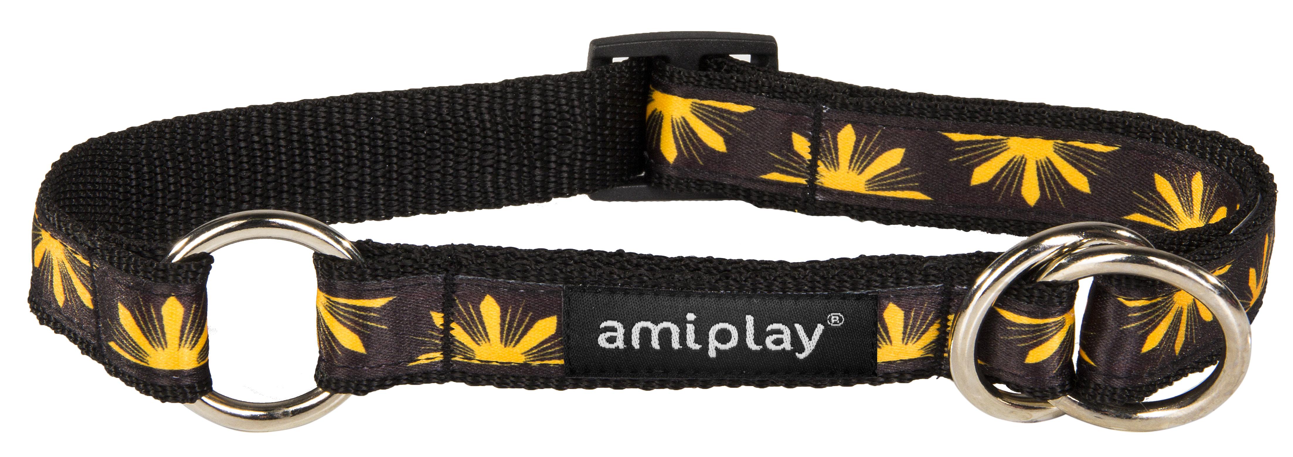 Obojek pro psa polostahovací nylonový - černý se vzorem květina - 2,5 x 34 - 55 cm