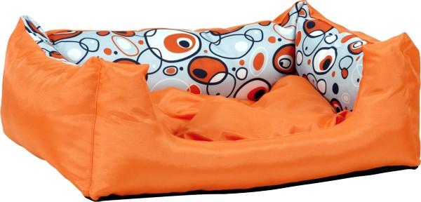 Pelech pro psa Argi obdélníkový s polštářem - oranžový se vzorem - 45 x 35 x 18 cm