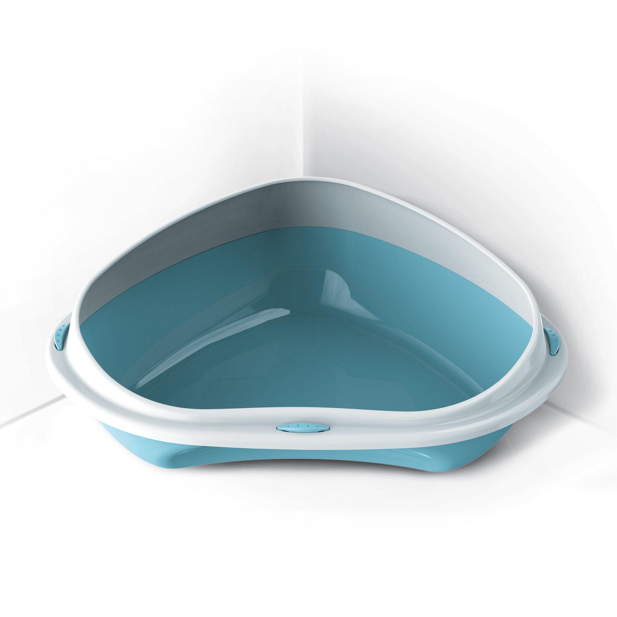 Rohová toaleta s vysokým okrajem Argi - modrá - 58 x 48 x 20,5