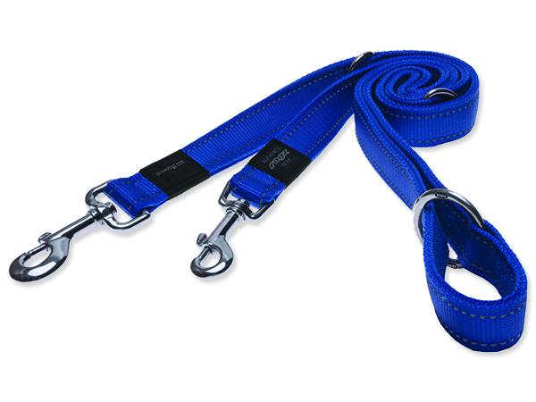 Vodítko pro psa přepínací nylonové reflexní - Rogz Utility - modré - 1,1 x 180 cm