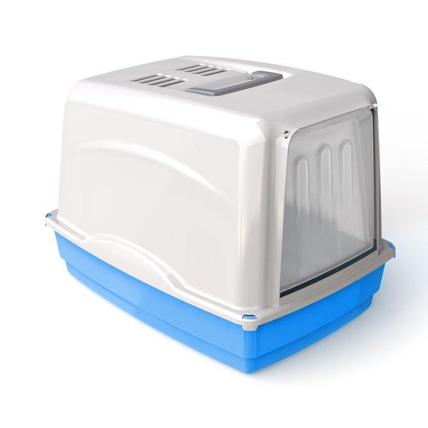 Krytá toaleta s filtrem Argi - modrá - 54 x 39 x 39 cm