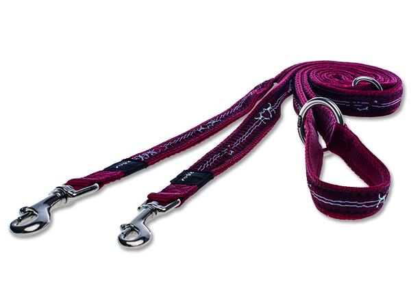 Vodítko pro psa přepínací nylonové - Rogz Fancy Dress Red Heart - 1,6 x 160 cm