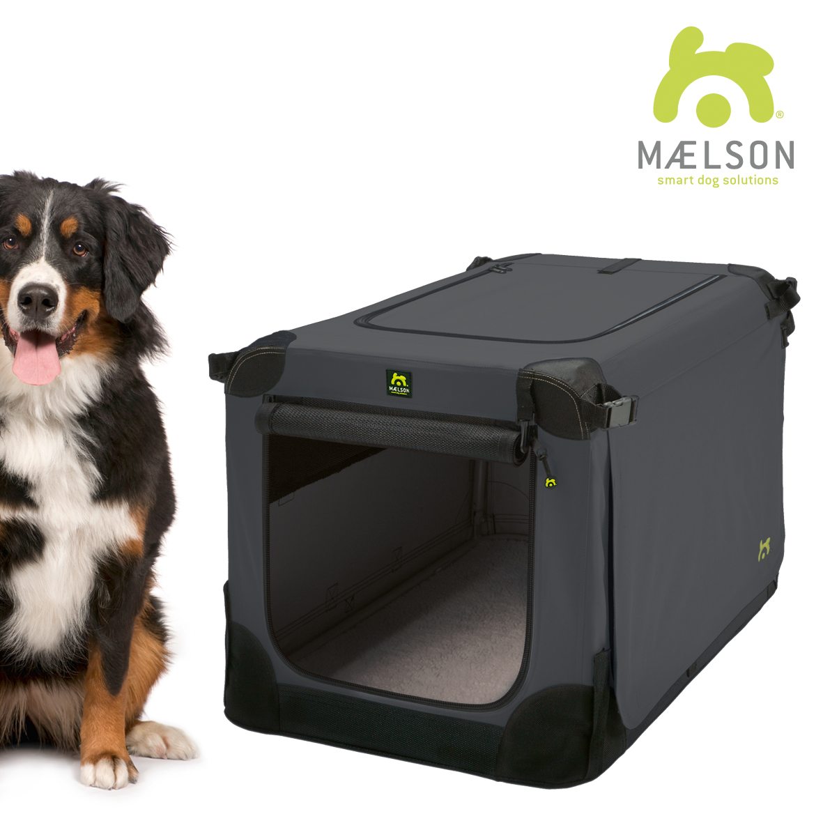 Přepravka pro psy Maelson - černo-antracitová - XXXL, 120x77x86 cm